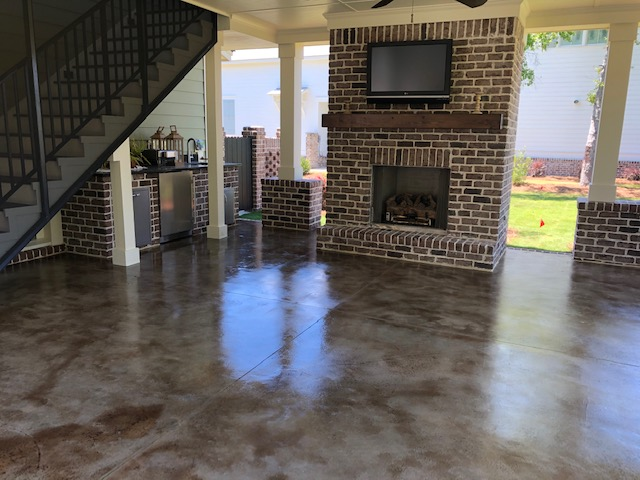 grand garages patio floor stained concrete